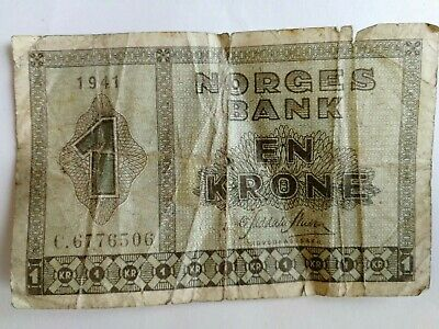 1 Krone Norge Bank 1941 green
