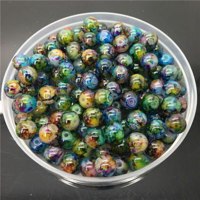 30Pcs 8mm Colorful Glass Pearl Round Spacer Loose Beads For Jewelry Making DIY