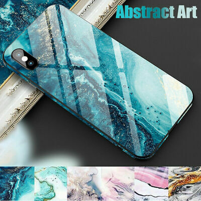 For iPhone XS Max XR 8 7 6 Abstract Marble Hybrid Tempered Glass Back Case Cover