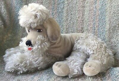 """Large Mid Century 14"""" Beige Color Mohair Laying Down Poodle Dog - Snobby Steiff"""