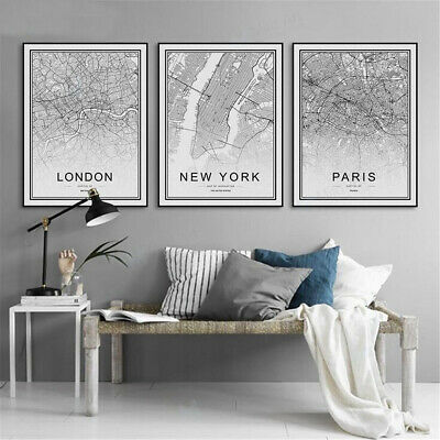 World City Map Poster Nordic Abstract Art Prints Canvas Painting Home Wall Decor