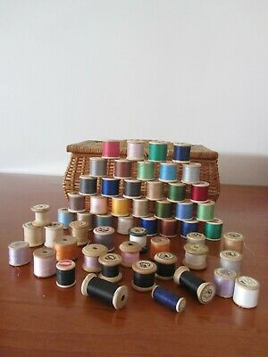 54 Antique Vintage Wooden Cotton Sewing Reels With Thread