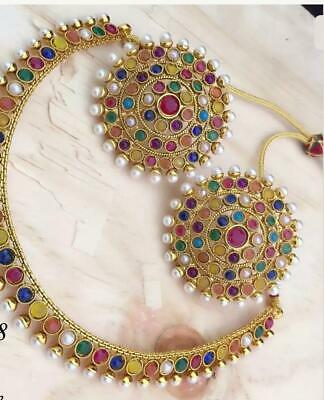 Latest South Indian White Necklace Earring Set Pearl Ethnic Bollywood Jewellery