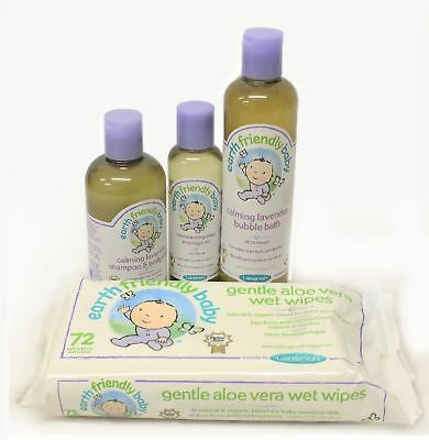 Earth Friendly Baby Bath Set Bundle Wipes, Massage Oil, Bubble Bath & Bodywash