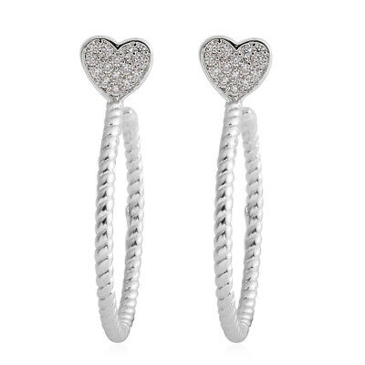 Round Cubic Zirconia CZ Heart Stud Solitaire Earrings for Women Jewelry Ct 0.2