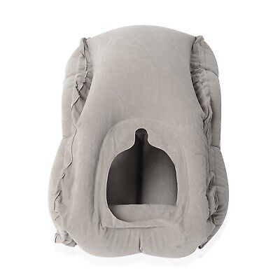 Home Gray Inflatable Travel Throw Pillow Made of Eco-Friendly Flocking