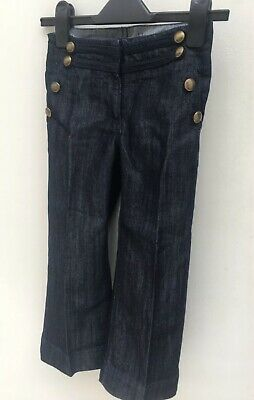 Girls Cropped Jeans Denim Wide Leg Trousers 5 Years