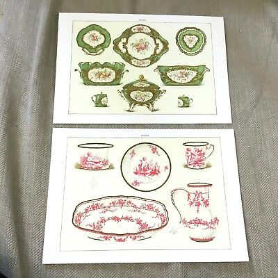 French Prints Antique Sevres Porcelain Edouard Garnier Pink Green Bowls China