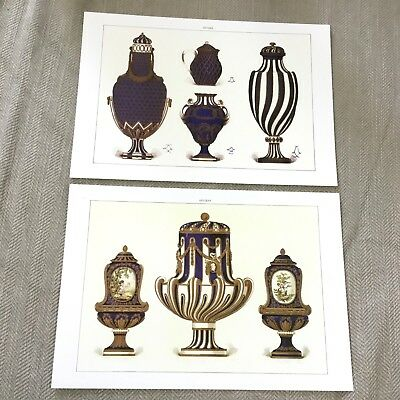 Antique Sevres Porcelain Prints Edouard Garnier Palace of Versailles China Urns