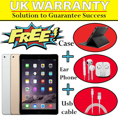 "Apple iPad Air 2 - 64GB Wi-Fi + 4G Cellular Unlocked 9.7"" EXCELLENT UK  WARRANTY"