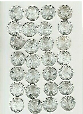 10 x ONE OZ PURE 99.99 SILVER BUFFALO ROUNDS...FREE POST OPTION
