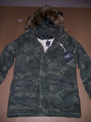 3baaf06f61fb7 NWT Abercrombie & Fitch Men's Fur warm Sherpa lined parka jacket coat S New  Camo