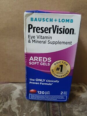 Bausch Lomb PreserVision Eye Supplement Areds 120 Softgels Exp 2020