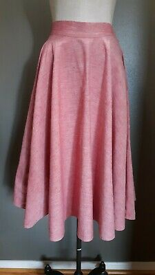 True Vintage 1950s Red Peppered Cotton Linen? Full Circle Skirt Sweep EVC S.