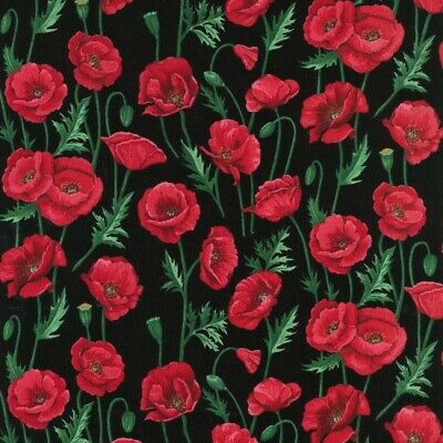 Cotton Fabric  Fat Quarter Nutex - Poppies - Stems Black