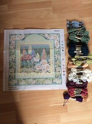 JULIA A'COURT Pretty Flower TAPESTRY NEEDLEPOINT CANVAS And Wools To Complete