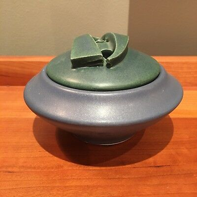 New Arts & Crafts studio art pottery ikebana bowl Prairie School signed