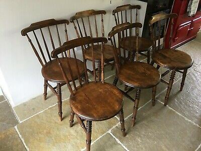 Antique Victorian Ibex Style Kitchen/Dining Windsor Spindle Penny Chairs