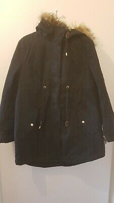 Black Maternity Parka Coat With Hood Size Medium 12/14 M H&M MaMa Winter