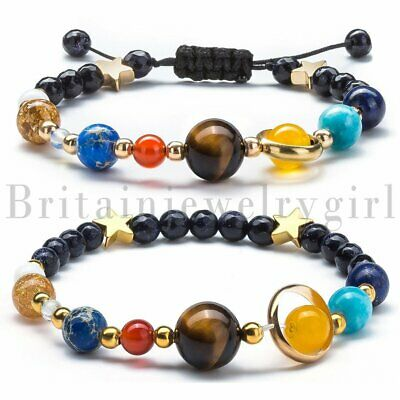 2pcs Solar System Bead Bracelet Universe Galaxy The Eight Planets Stone Beads