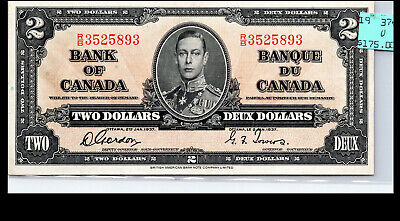 Canada 1937 -  A.UNC+  $2 GORDON/TOWERS BANKNOTE