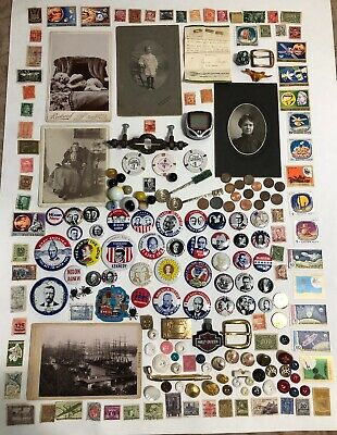 Antique/Vintage Junk Drawer Collectible Lot Stamps~Political Pins~Coins~Buttons