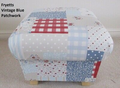 Storage Footstool Fryetts Vintage Patchwork Blue Fabric Pouffe Gingham Spots Red