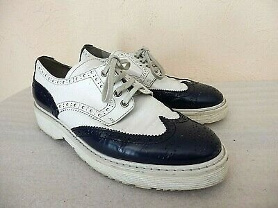 Prada - Derby Shoes - Size 38,5 Eu - Leather White and Blue Navy - Authentic