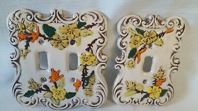 Handmade Ceramic Switch Plates Covers Double Single, Orange Brown Floral Designs