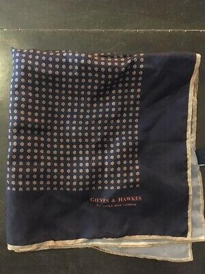 Gieves And Hawkes Silk Handkerchief Made In England Navy With Pattern