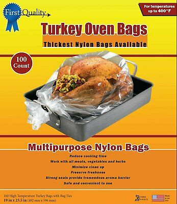 First Quality 19-Inch by 23-1/2-Inch Turkey Oven Bags 50 bags and Ties Per Box