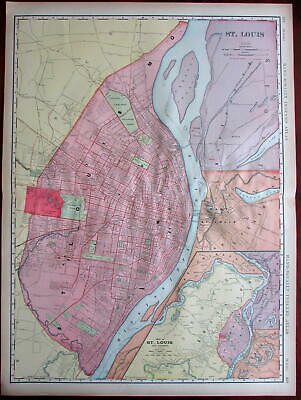 St. Louis Missouri city plan 1906 huge detailed Rand McNally w/ Expo grounds map