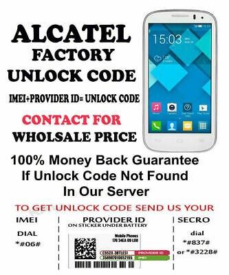 Alcatel Unlock Code For/Pin For 50560-2Aaqus0 4060A Alcatel At&T Usa