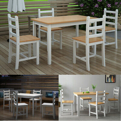 Modern Dining Table & 4 Chairs Solid Wood Sturdy Pine Home Kitchen Furniture Set