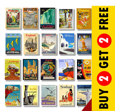 VINTAGE TRAVEL POSTERS A4 - A3 Size Retro Prints - Vintage Home / Wall Art Decor