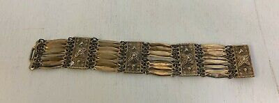 "Vintage Aztec Peru Mexican wide Brass conch panel bracelet  7.5""  x 1"""