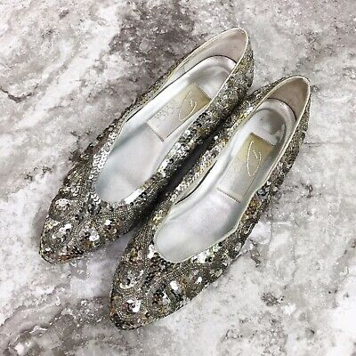 Dolce By Pierre Womens Shoes Size 8 Silver Sequin Kitten Heels Party Vintage