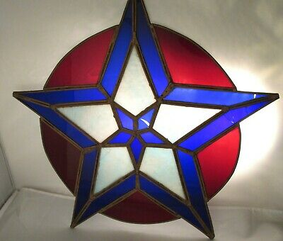 """Antique Stained Glass Star 18"""" Ruby Red Deep Cobalt Blue Circa 1920"""