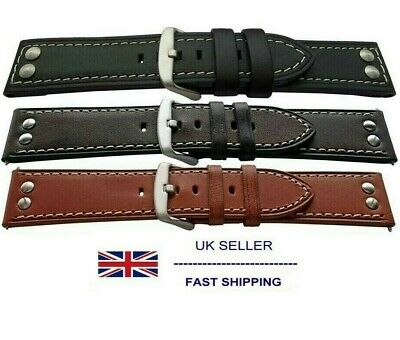 Studded Rivet Strong Watch Strap Stitched Thick Keepers Fits TW Steel 18mm-24mm
