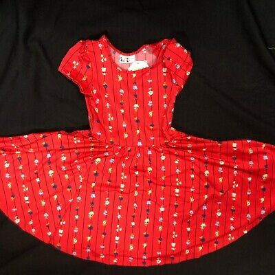 NWT Dot Dot Smile CUP Sleeve Twirl Dress Summer Knit Red Floral Stripes Print
