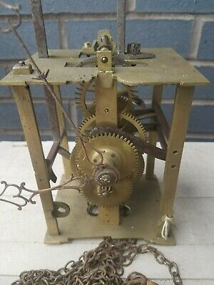 Antique brass plate clock English bell striking movement for restoration. c1800s