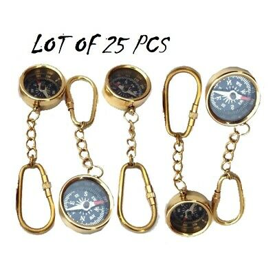 25 Pieces Maritime Nautical Vintage Style Brass Pocket Compass Key Chain