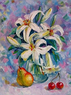 "Delicate Lilies and Pear 20X16"" Original Oil Painting N. Bykova Impasto Flowers"