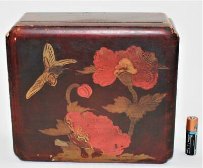 Vintage 20thC Japanese Taisho Wood Lacquerware Box Red Gold Painted Birds Flower