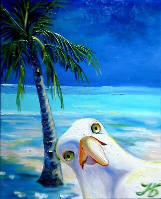 "THE BEACH MOB SEAGULL 20X16"" Original oil painting Realistic Art by Nadia Bykova"