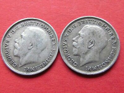 Great Britain ( 1918 & 1920 ) 2 X 3 Pence Beautiful Rare Silver Coins