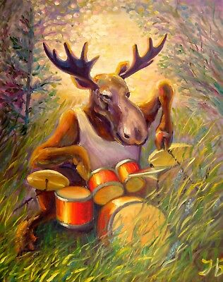 "Musical Moose 20X16"" Original oil painting Playing Drums Realistic Art N.Bykova"