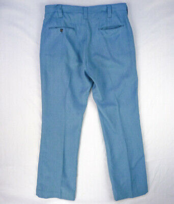 Vintage 70s Polyester Ribbed Pants 33 x 29 Flare Ugly Golf Sky Blue Disco Wear