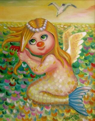 "Mermaid Angel 16X20"" Hand Painted Original Oil Painting Children Kids N.Bykova"