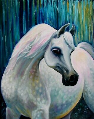"ARABIAN HORSE 30X24"" Original Oil Painting Animal Portrait Nadia Bykova"